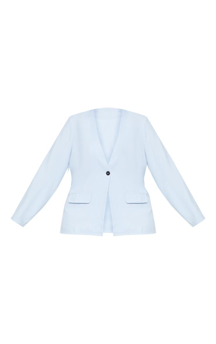 Plus Dusty Blue Button Detail Suit Jacket 3