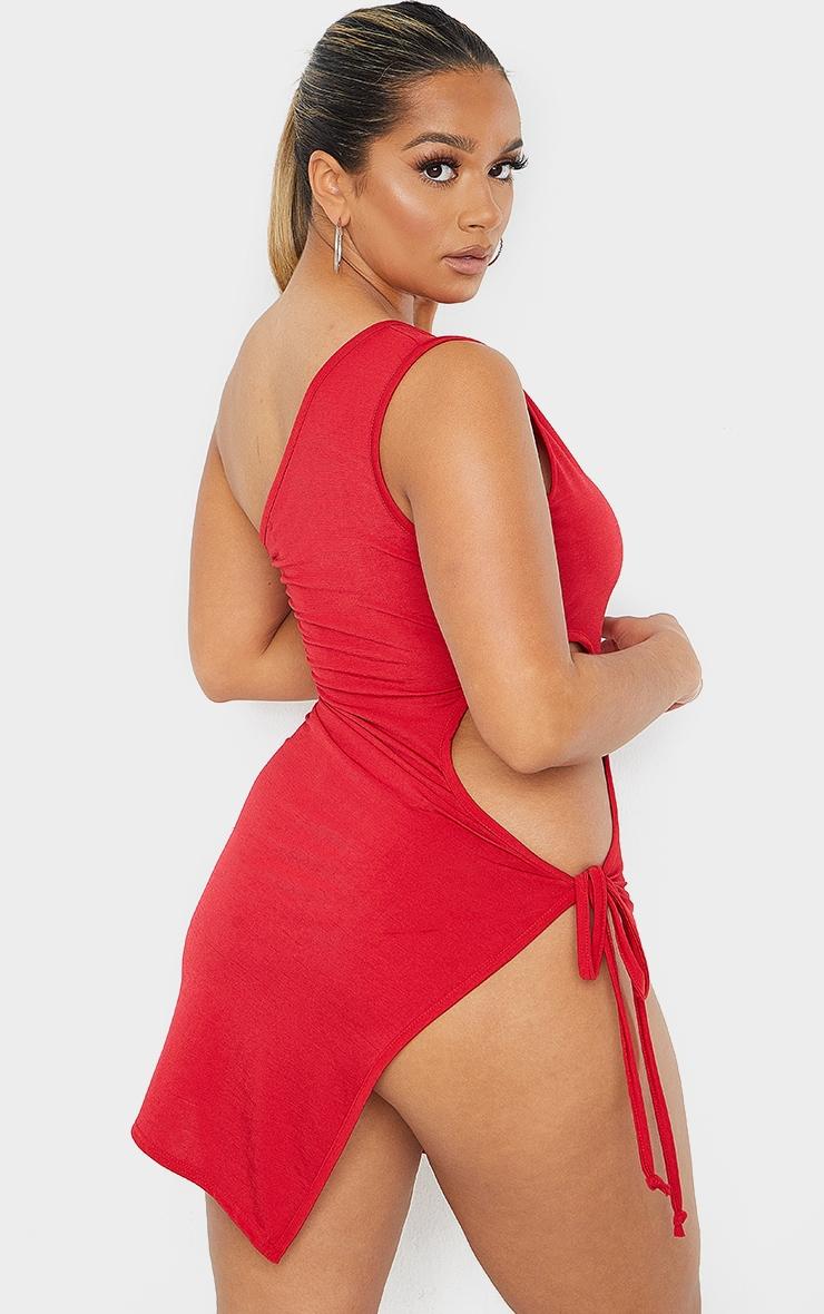 Shape Red One Shoulder Tie Side Split Detail Bodycon Dress 2