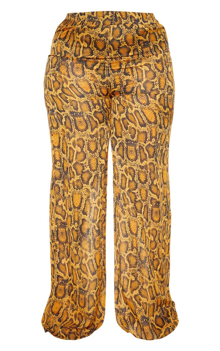 Plus Orange Sheer Snake Print High Waisted Wide Leg Trouser  3