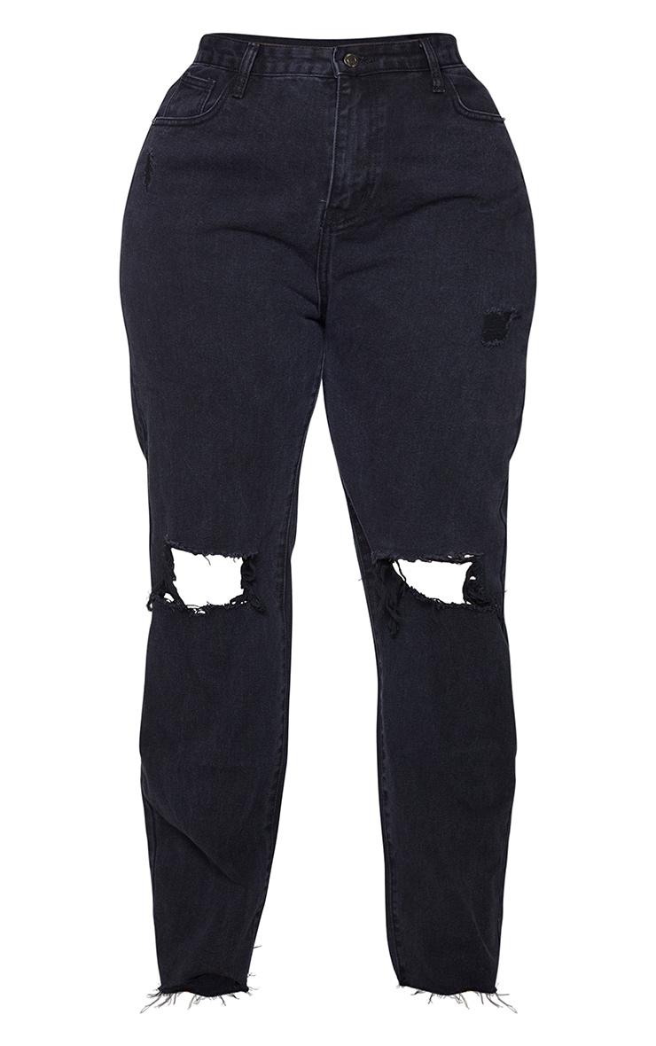 PRETTYLITTLETHING Plus Black Distressed Long Leg Straight Jeans 5