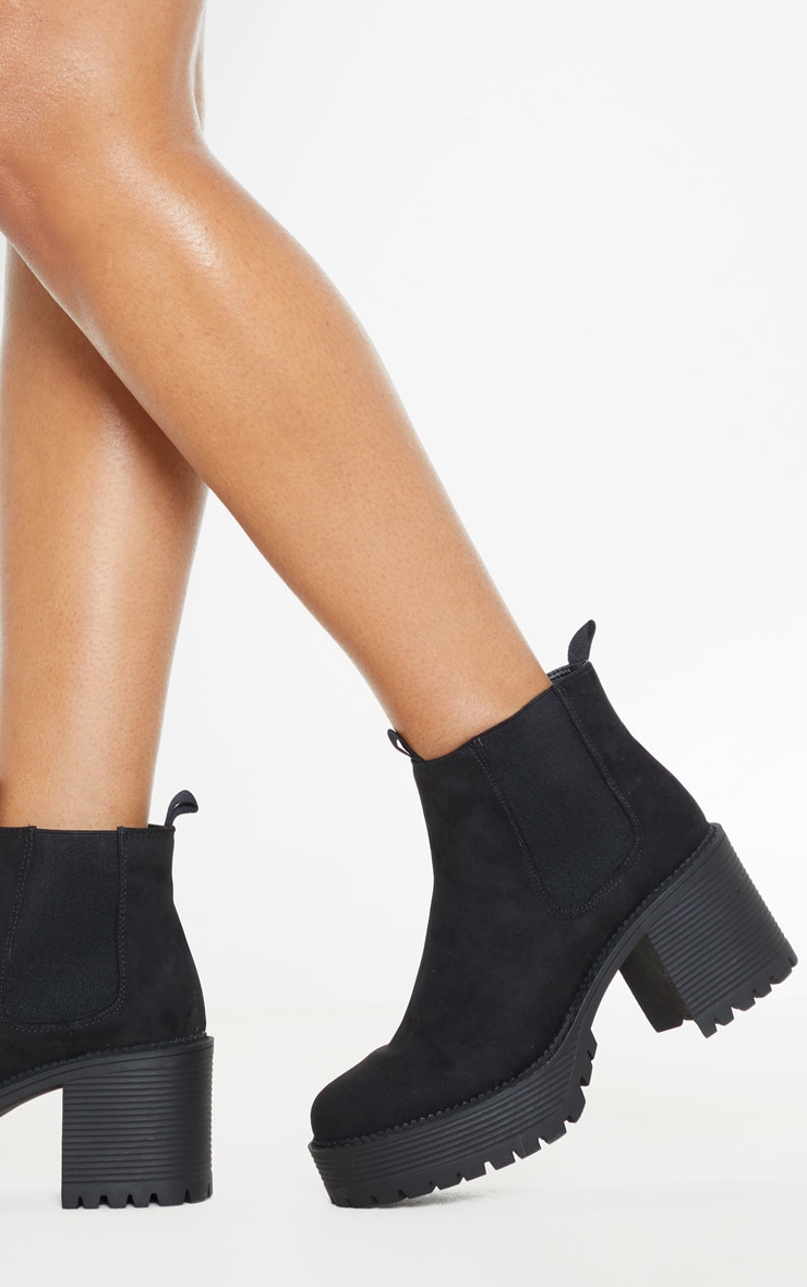 Black Micro Chunky Cleated Chelsea Ankle Boot 2
