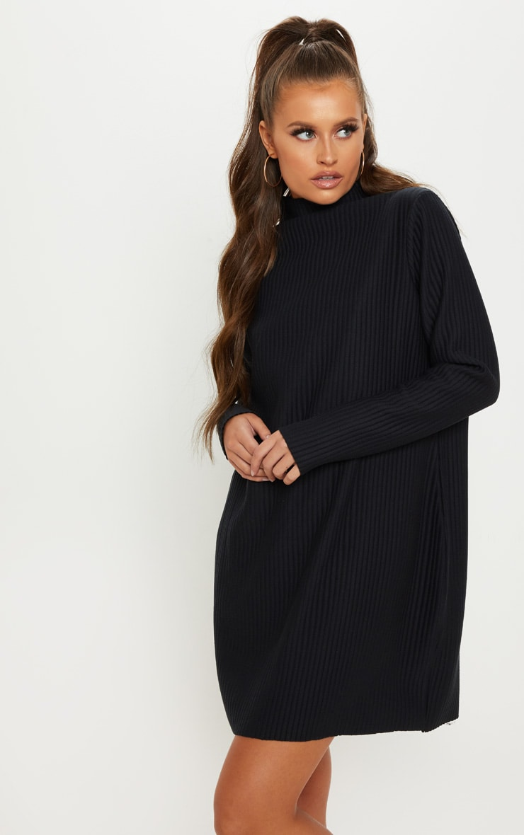 Black High Neck Thick Ribbed Oversized Jumper Dress 4