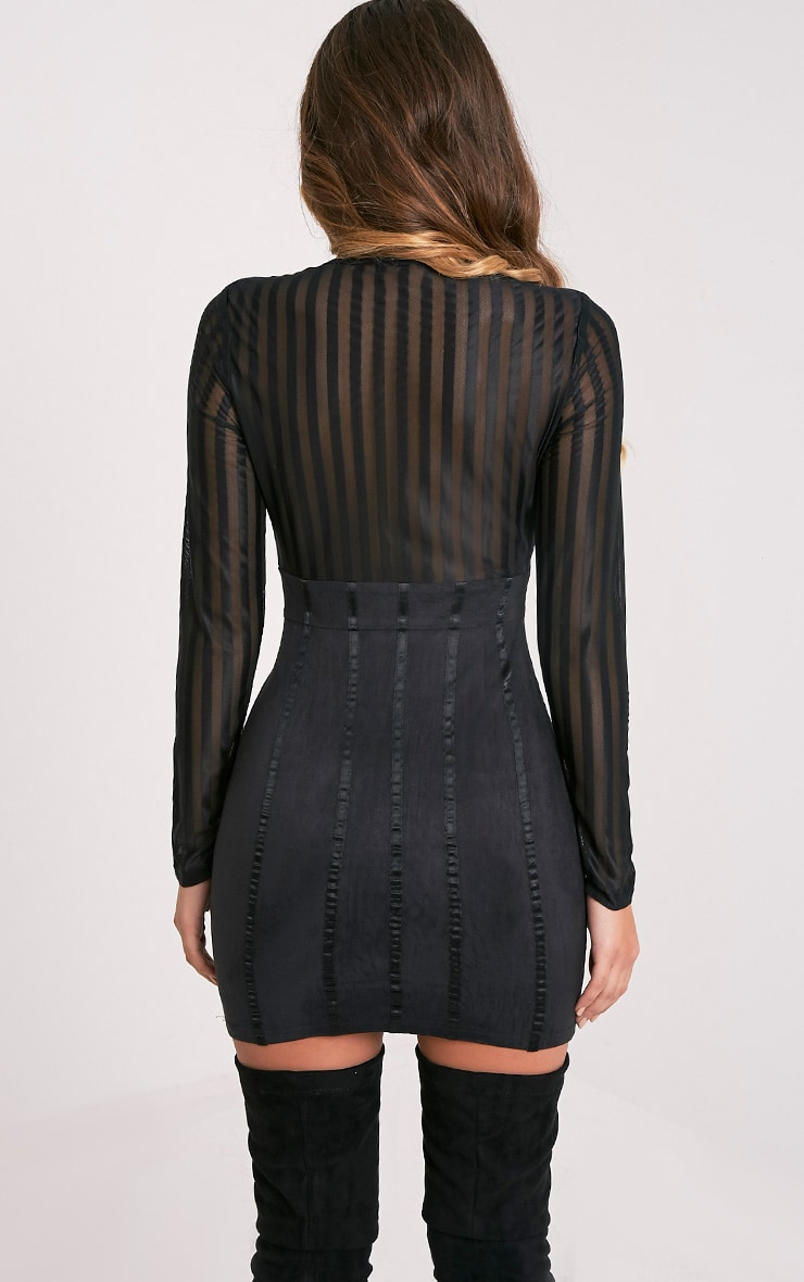 Iryka Black Mesh Stripe Suede Skirt Bodycon Dress 2