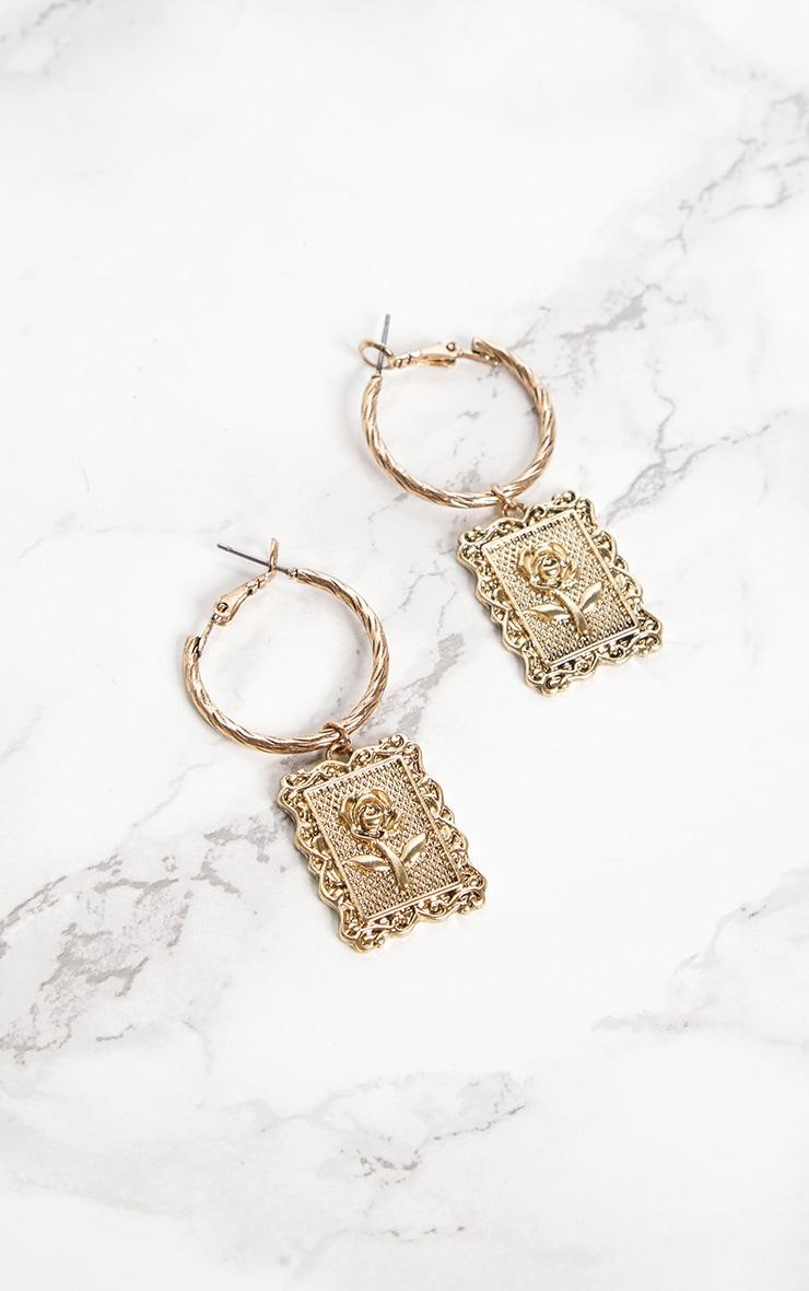 Gold Rose Square Pendant Hoop Earrings 3