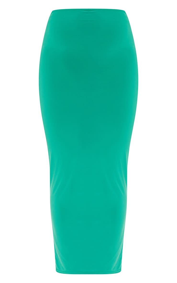 Bright Green Slinky Thong Bum Detail Midaxi Skirt 5