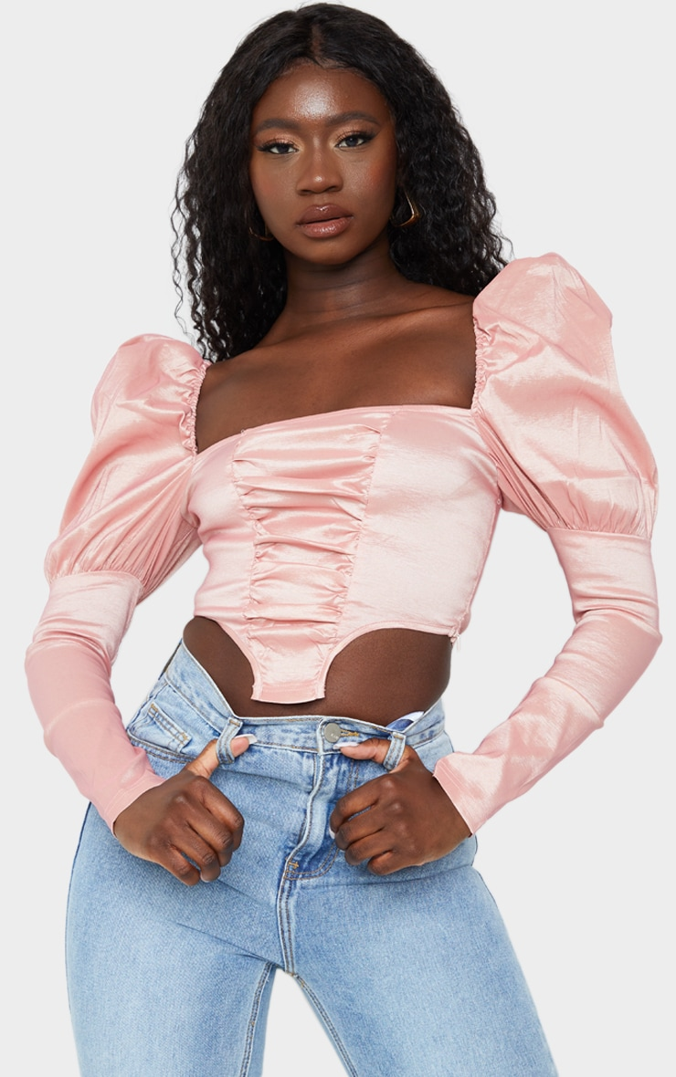 Pink Woven Metallic Puff Long Sleeve Square Hem Crop Top 1