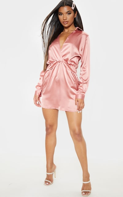 Katalea Rose Twist Front Silky Shirt Dress