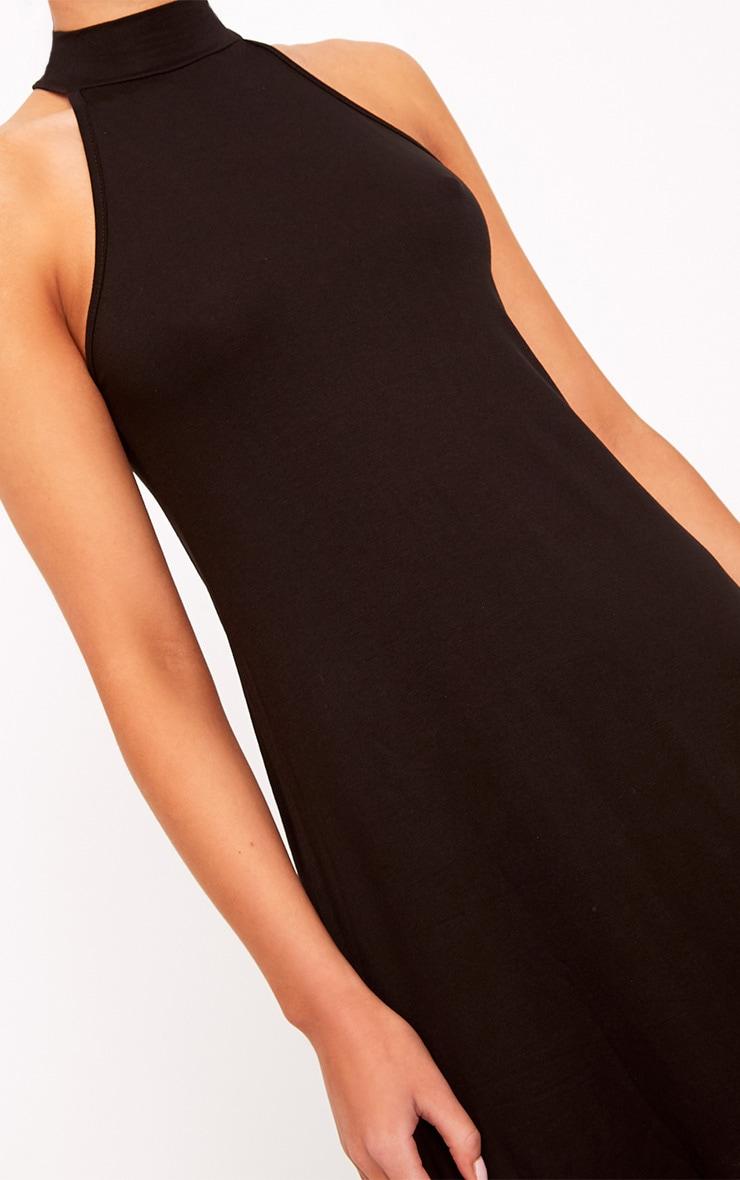 Black Jersey High Neck Swing Dress 5
