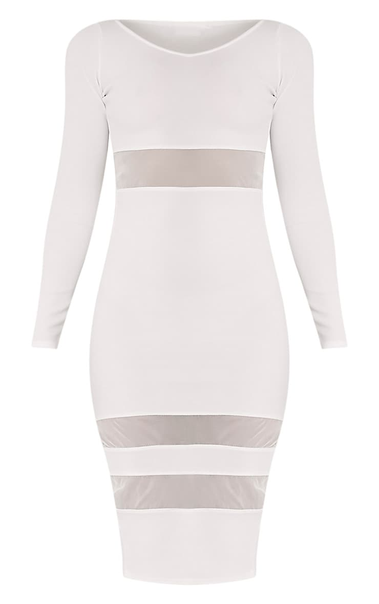 Kaycee White Long Sleeve Mesh Panel Midi Dress 3