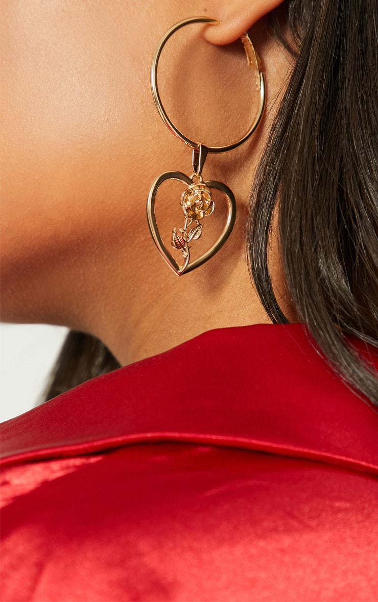Gold Rose Heart Hoop Earrings