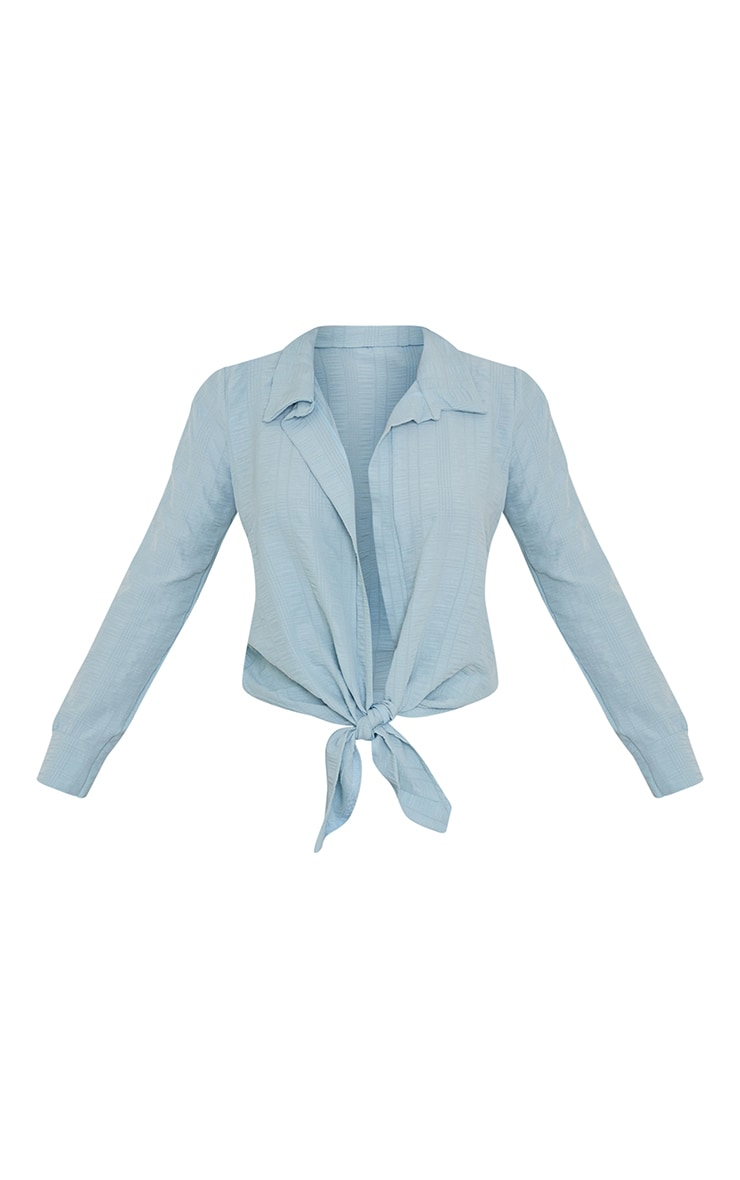 Aqua Textured Tie Front Shirt 5