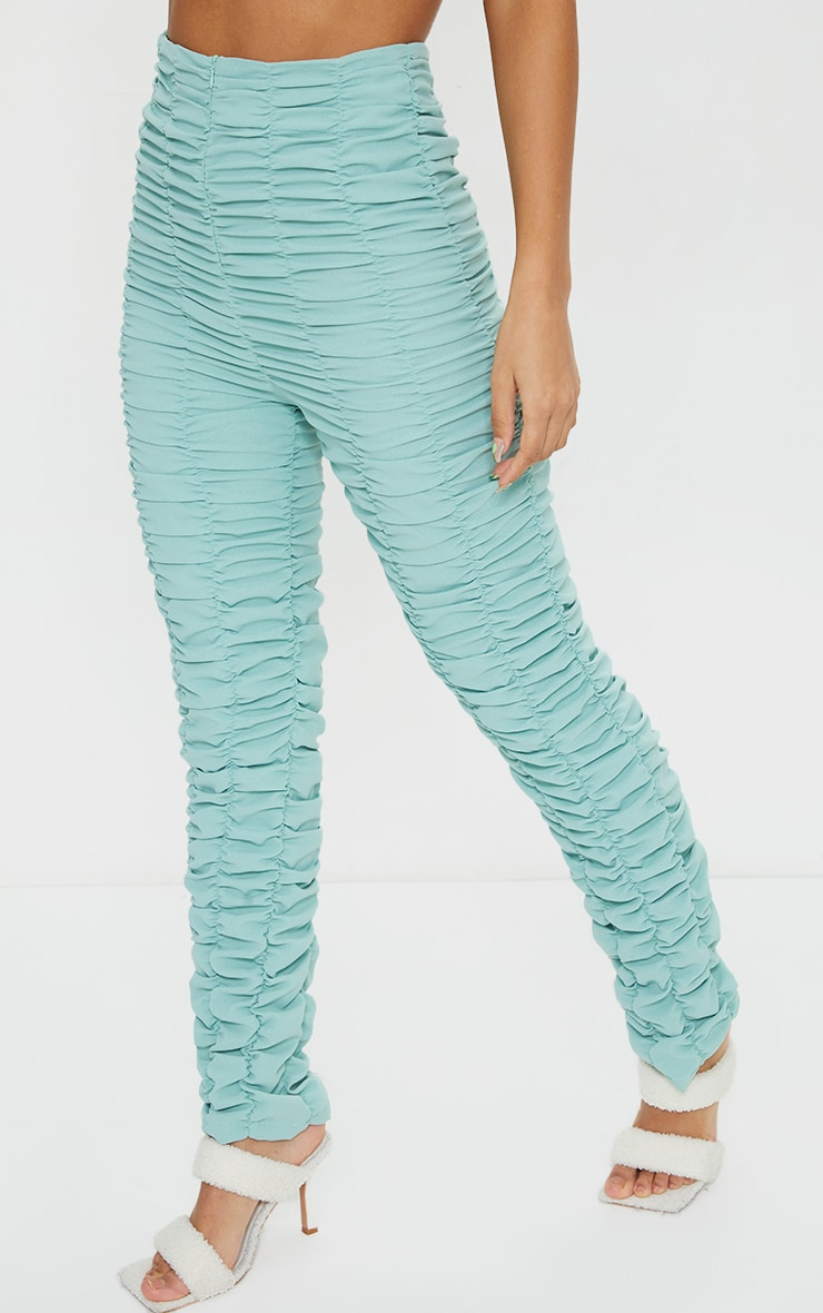 Washed Green Ruched Leg Woven Skinny Pants 2