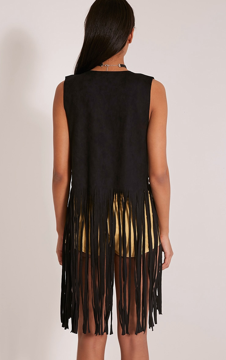 Bili Black Faux Suede Ring Detail Fringed Waistcoat 2