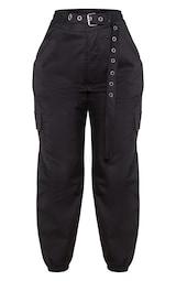 Black Eyelet Detail Belted Cargo Pants 3