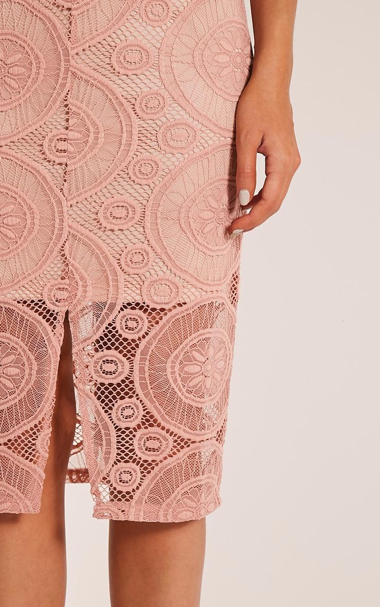 Tammy Dusty Pink Scoop Back Lace Midi Dress 6