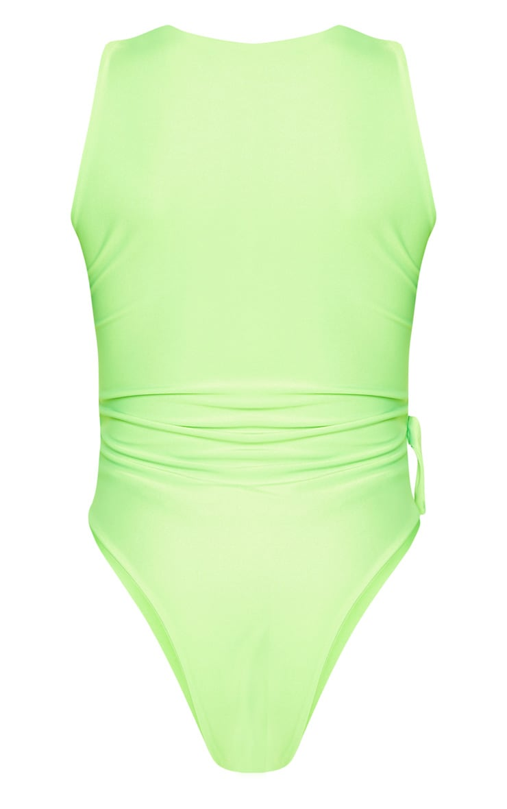 Shape Neon Lime V Neck Buckle Waist Swimsuit 8