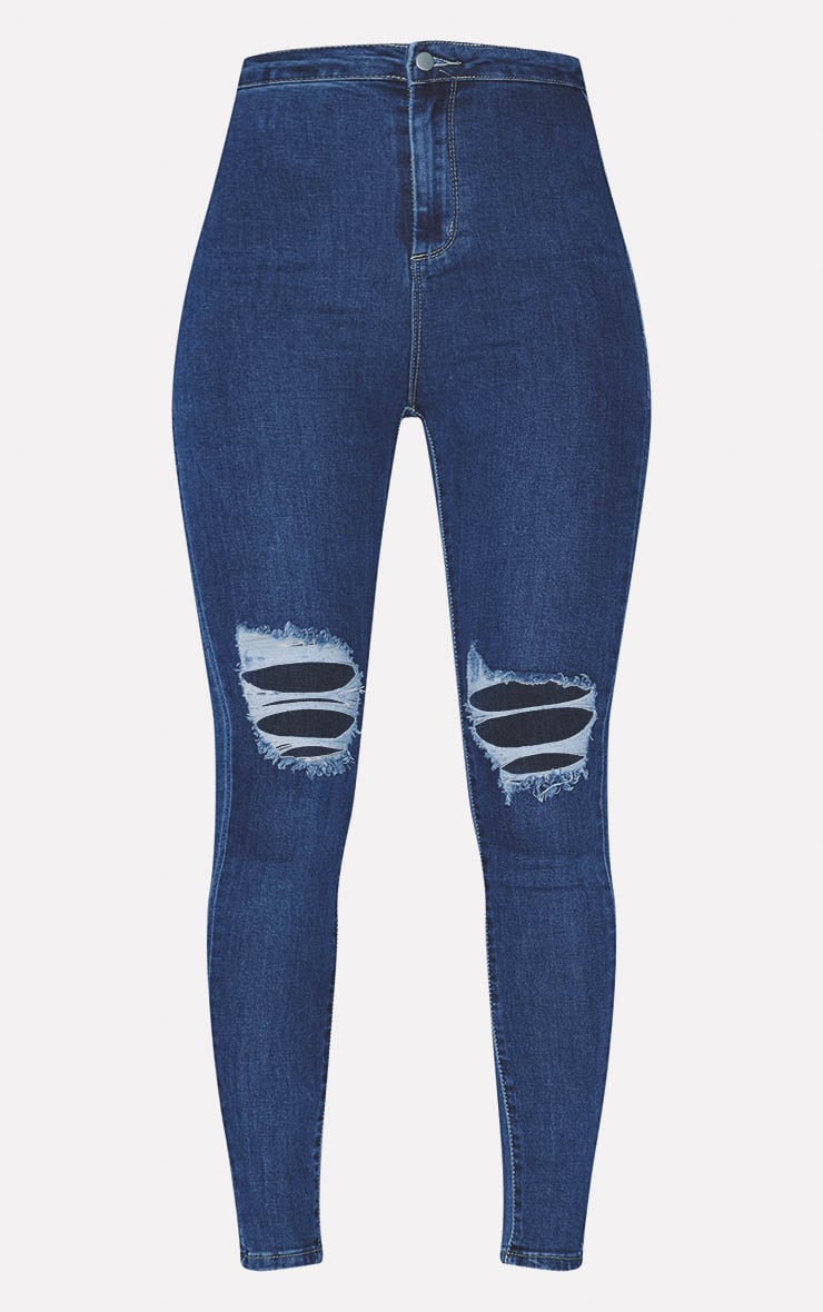 PRETTYLITTLETHING Mid Blue Knee Rip 5 Pocket Skinny Jean 3