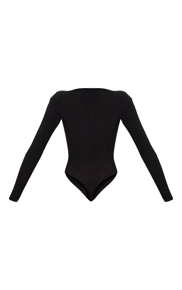 Black Slinky Cut Out Long Sleeve Thong Bodysuit  4