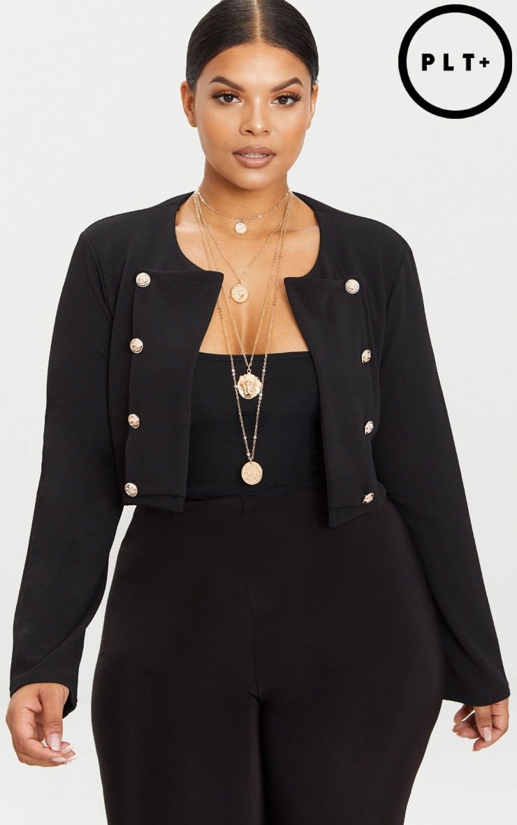 Plus Black Military Cropped Jacket  1