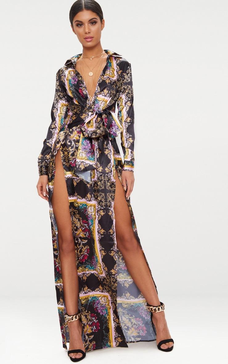 Pink Satin Extreme Split Waist Tie Shirt Maxi Dress  1