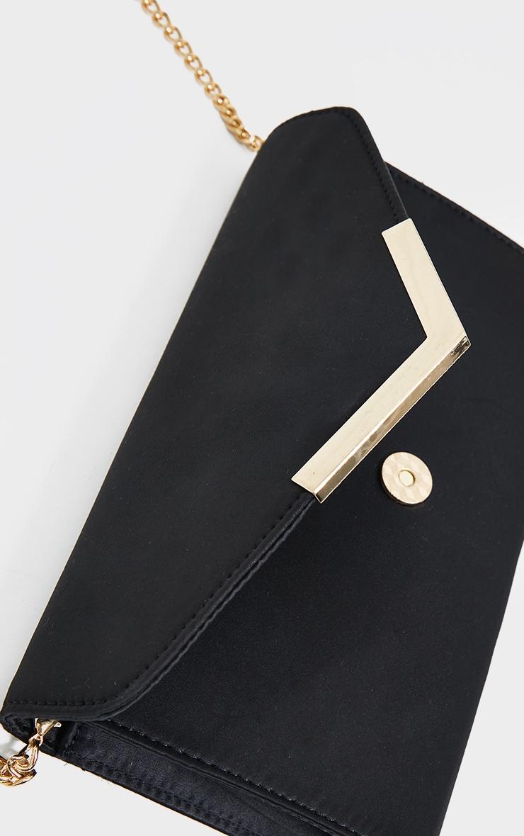 Black Satin Clutch Bag 4