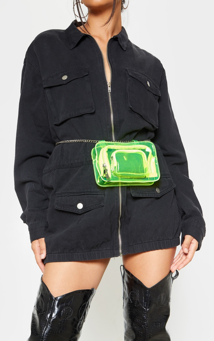 Neon Lime Plastic Multi Pocket Bum Bag 1