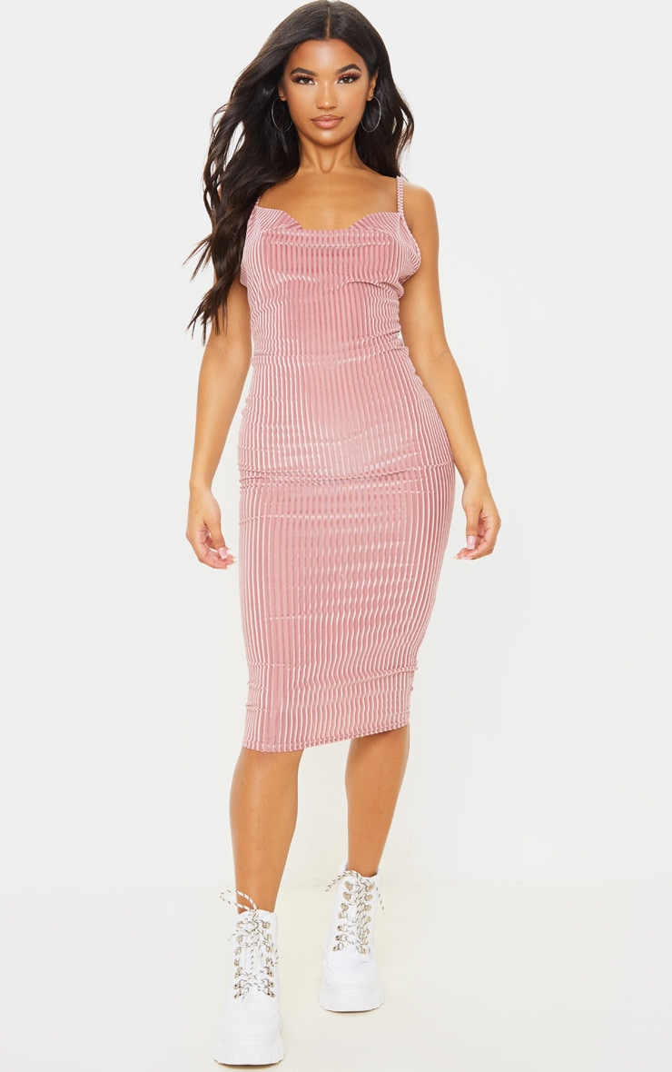 Blush Velvet Rib Cowl Neck Midi Dress 4