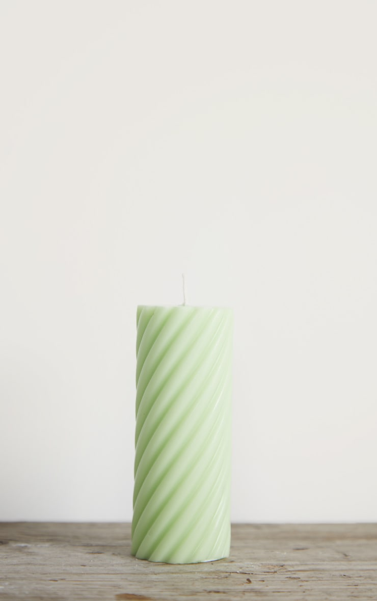 Lime Swirl Pillar Scented Soy Wax Candle 12cm 3