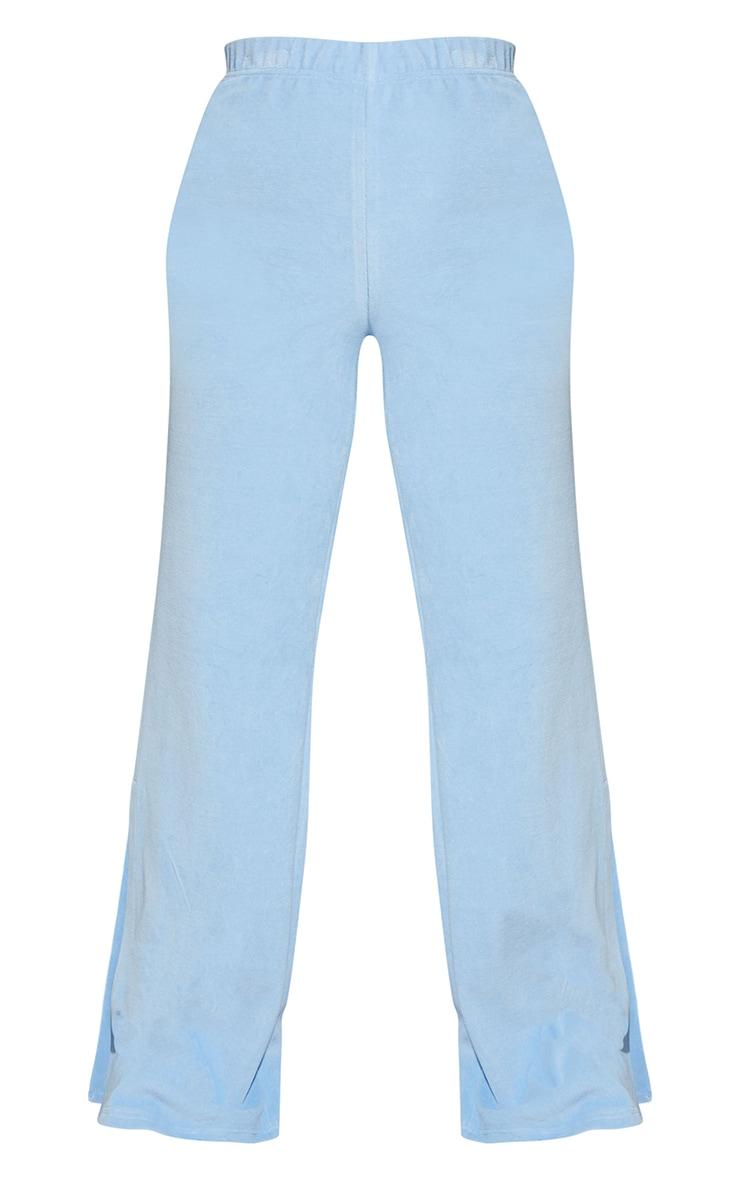 Ice Blue Velour Wide Leg Split Hem Pants 5
