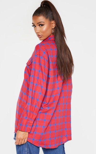 Red Check Oversized Shirt