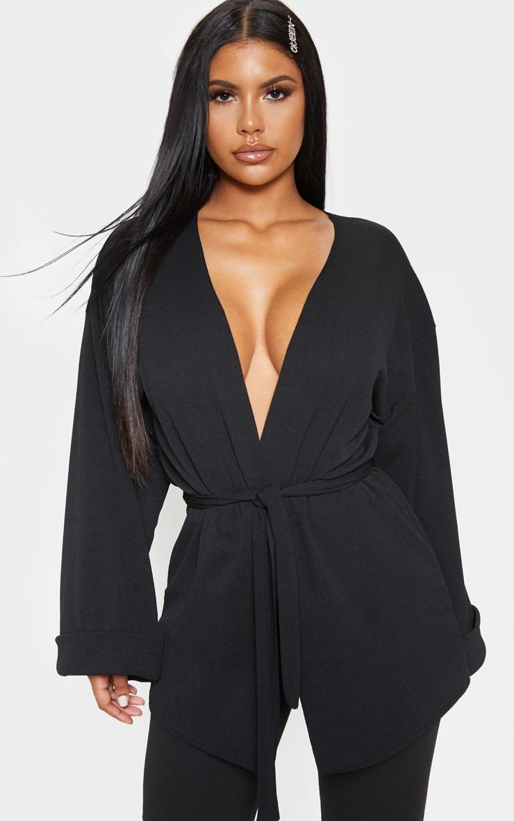 Black Belted Oversized Sleeve Blazer 1