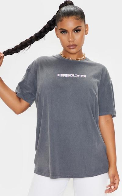 Grey Print Oversized Washed T Shirt