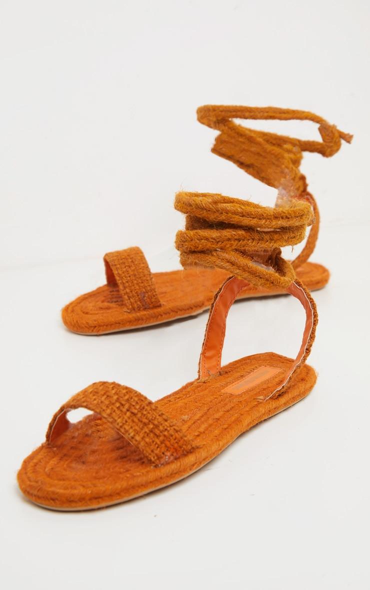 Orange Espadrille Lace Up Sandal 3
