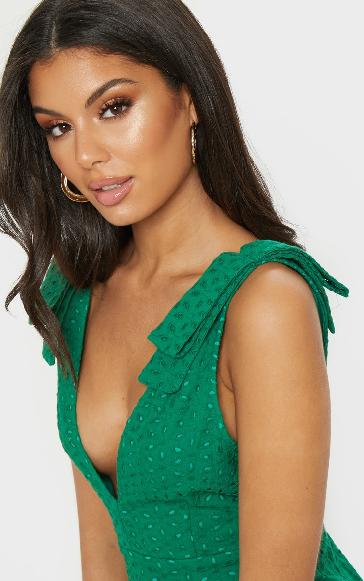 Green Broderie Anglaise Strap Detail Frill Hem Shift Dress 5