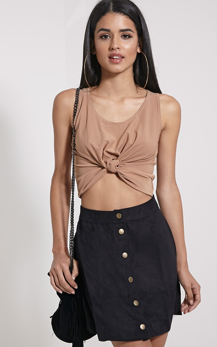 Zuri Camel Crepe Sleeveless Knot front Crop Top 4
