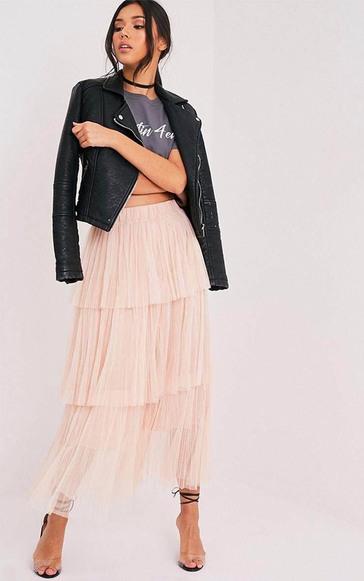 Regina Nude Tiered Tulle Maxi Skirt 1