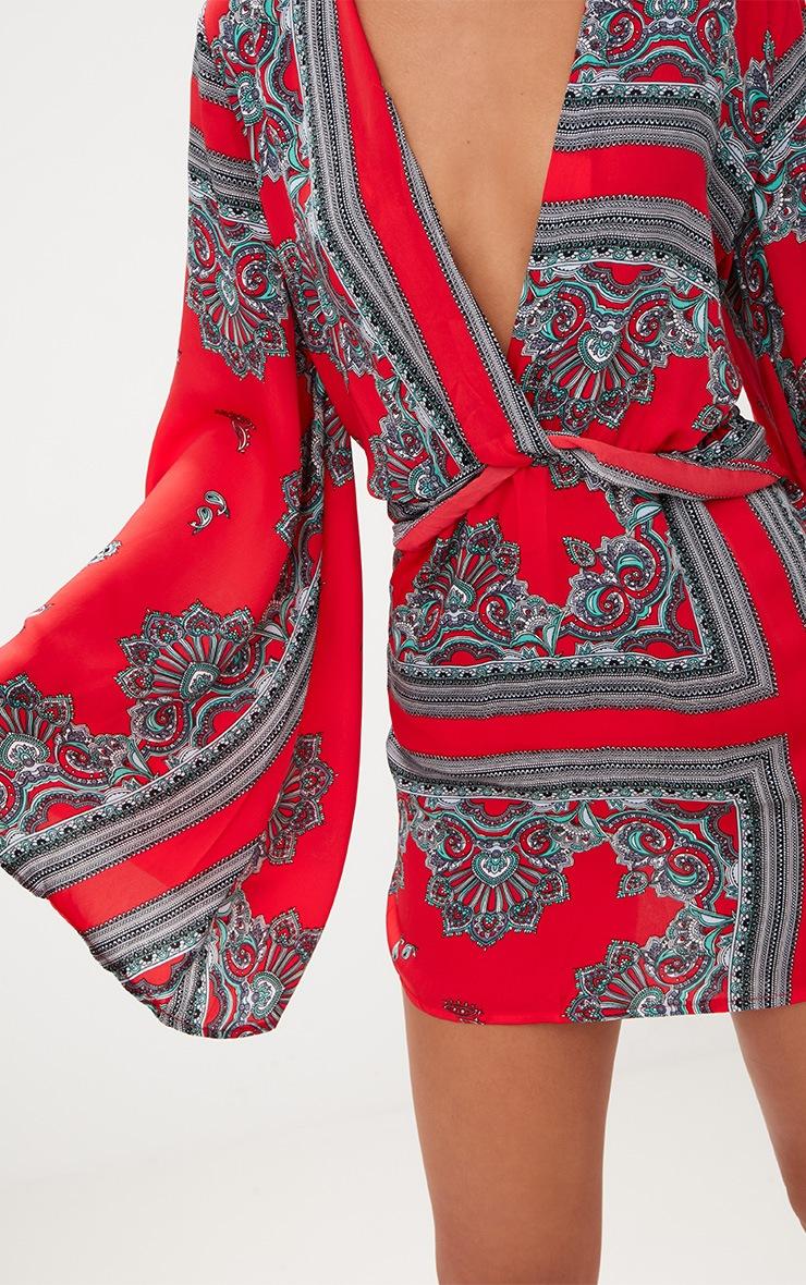 Red Satin Scarf Print Kimono Sleeve Plunge Shift Dress 5