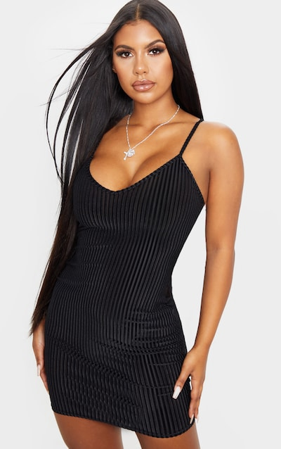 Black Velvet Ribbed Strappy Bodycon Dress