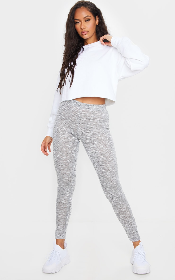Grey Brushed Marl Split Hem Leggings 4