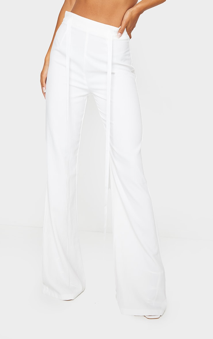 White Woven High Waist Satin Tie Detail Flared Pants 2