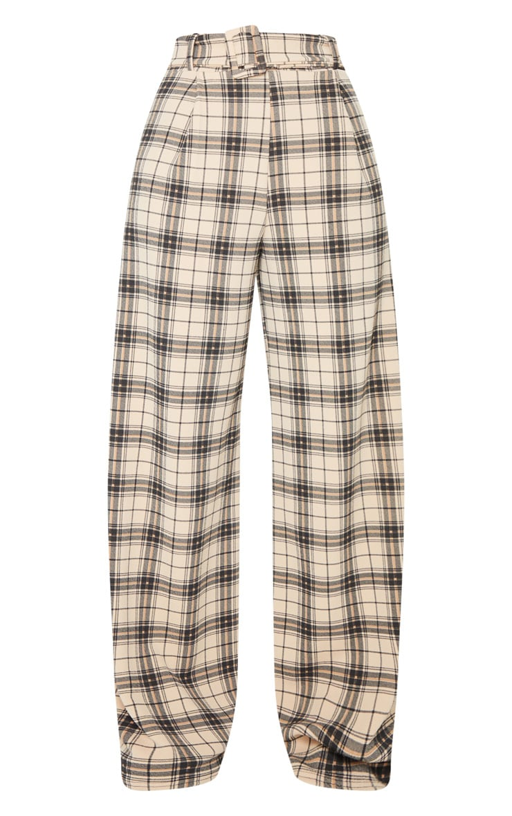 Stone Check Belted Wide Leg Pants 5