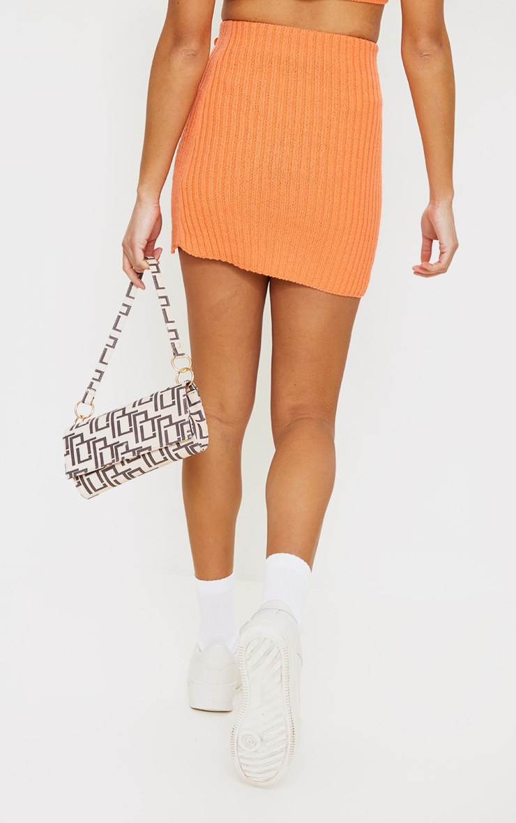 Orange Ribbed Knitted Button Mini Skirt 3