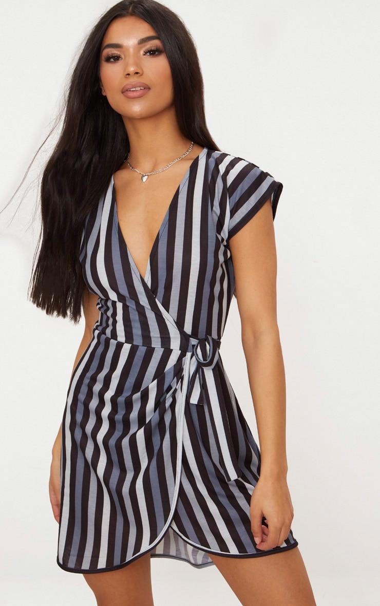 Black Stripe Tie Detail Wrap Dress  1