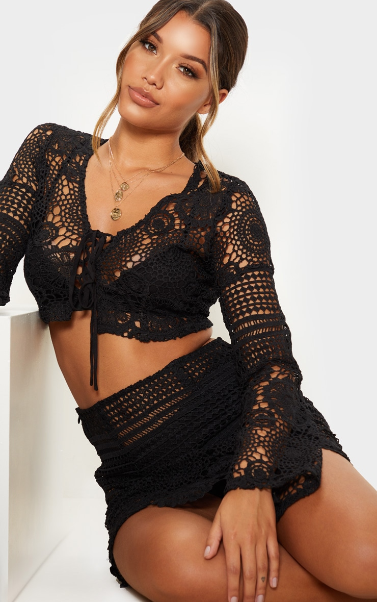 Black Crochet Lace Tie Detail Crop Blouse 5