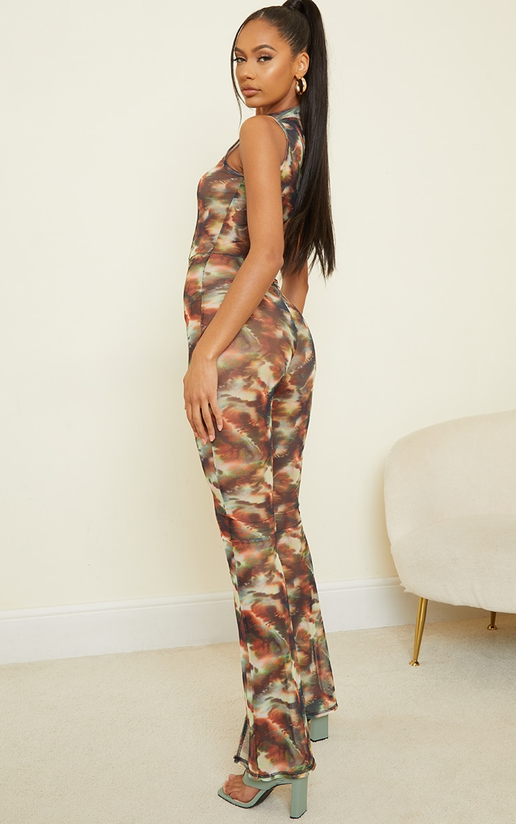 Green Marble Print Contrast Stitch High Neck Mesh Jumpsuit 2
