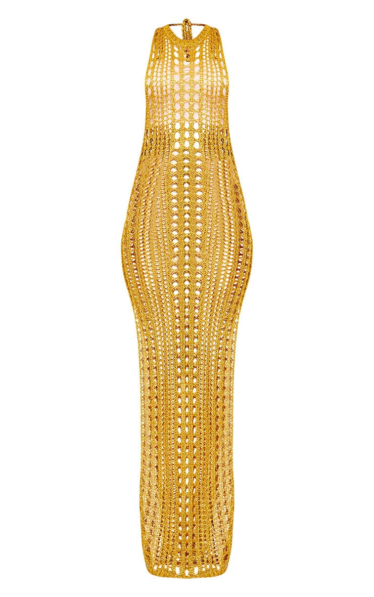 Elissa Gold Metallic Open Knit Maxi Dress 3