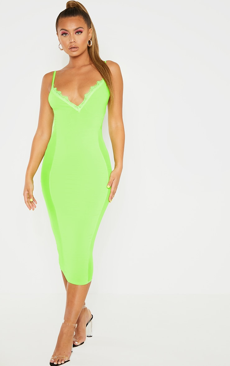 Neon Lime Strappy Mesh Panel Lace Detail Midi Dress 1