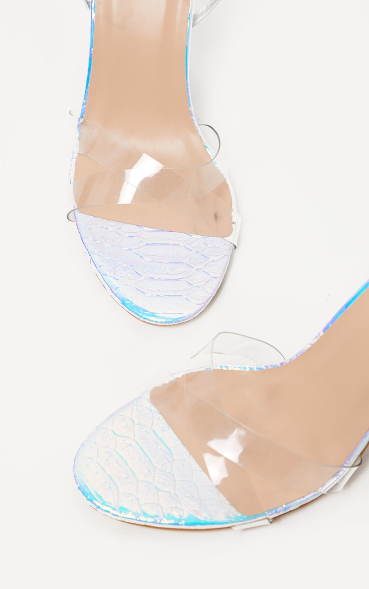 Holographic Clear Heel Ankle Tie Sandal 4