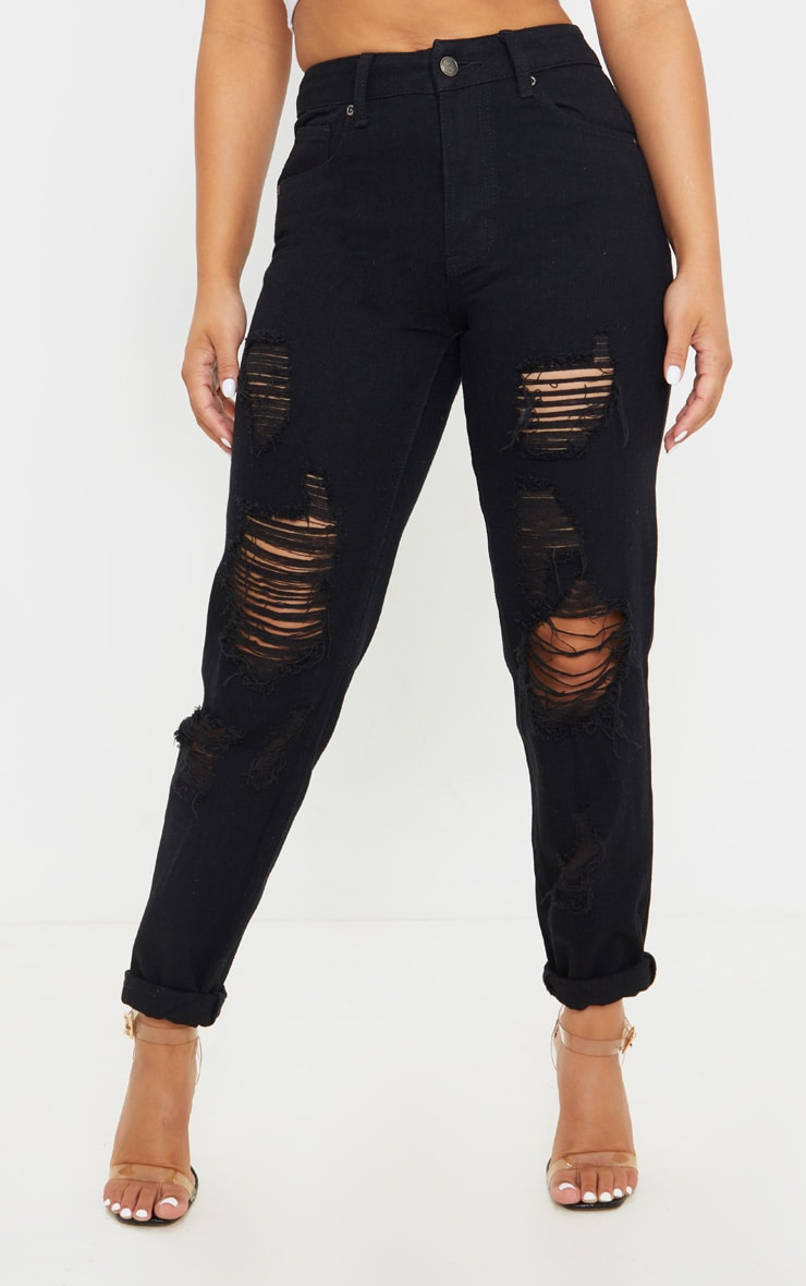 Petite Black Distressed Jean 2