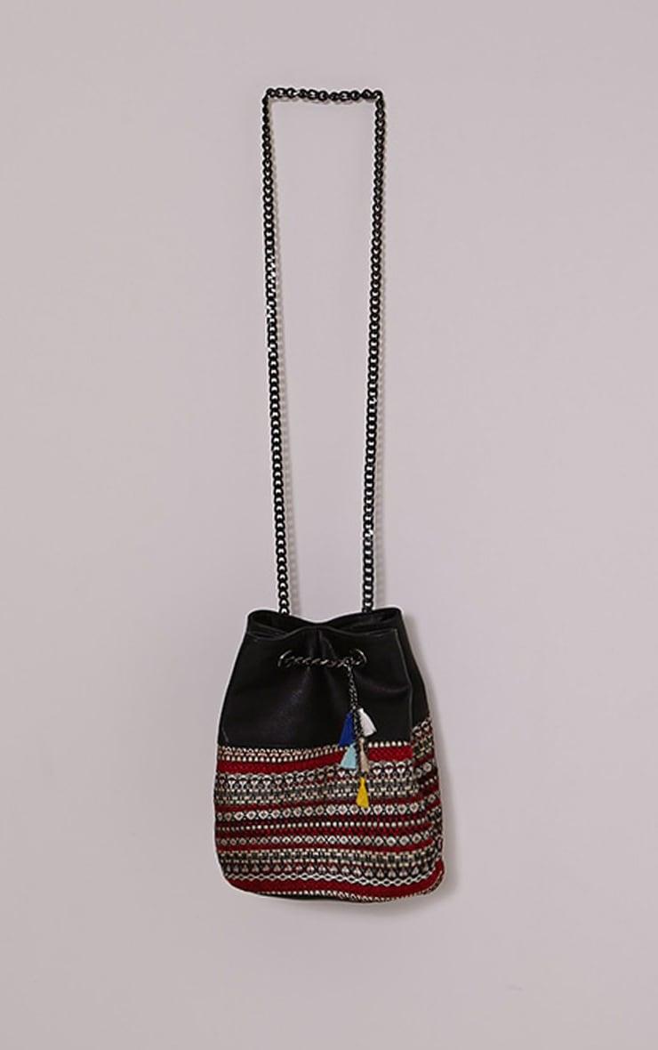 Della Red Boho Print Drawstring Bag 1